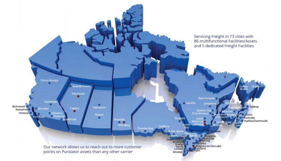 Canadian map of Purolator's national LTL freight network.